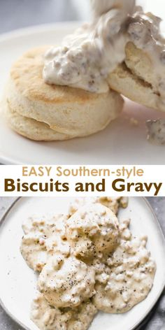 An easy, southern-style sausage gravy with flaky homemade biscuits makes the BEST Biscuits and Gravy! One of our favorite breakfast recipes of all time! # breakfast recipes Biscuits and Gravy Breakfast Biscuits, Breakfast Dishes, Breakfast And Brunch, Blueberry Breakfast, Fruit Biscuits, Breakfast Gravy, Breakfast Dessert, Sausage Breakfast, Breakfast Smoothies