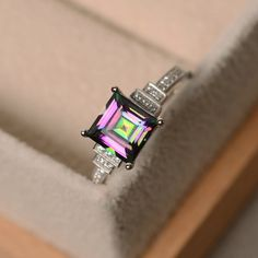 Mystic topaz ring sterling silver princess cut ring by LuoJewelry