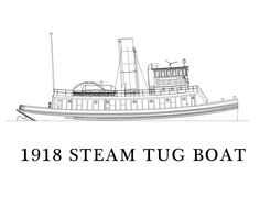 Line drawing of 1918 steam tugboat
