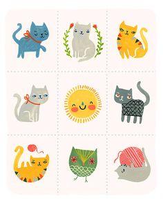 PETIT REVE'S SASSY CATS PRINT #KITTENS #CATS #PRINT #ILLUSTRATION #NURSERY #KIDS #BABY #WALLS #DESIGN