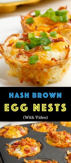 Hash Brown Egg Nests are a delicious breakfast or brunch idea you can make ahead. Theyre soft on the inside and crispy golden on the outside. Theyre great for a quick weekday breakfast and also perfect for feeding a crowd. Plus video tutorial! Brunch Ideas For A Crowd, Breakfast For A Crowd, Easy Brunch Recipes, Healthy Brunch, Breakfast Cups, Food For A Crowd, Best Breakfast, Breakfast Casserole, Yummy Quick Breakfast Ideas