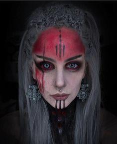 Gothic Models, Gothic Makeup, Barbarian, Silver Hair, Pagan, Halloween Face Makeup, Wigs, Braids, Make Up