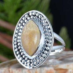 925 SOLID STERLING SILVER FOSSIL CORAL EXCLUSIVE RING 7.67g DJR11388 SZ-8 #Handmade #Ring