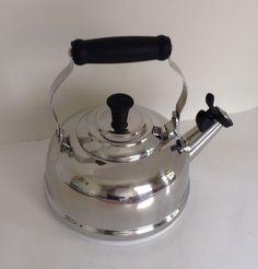 Le Creuset Tea Kettle Whistling Teakettle 1.75 Quart Stainless Steel Silver #LeCreuset