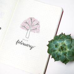 Bullet journal monthly cover page, February cover page, tree drawing, heart drawing, Valentine's Day bullet journal drawing.   @shaystudy