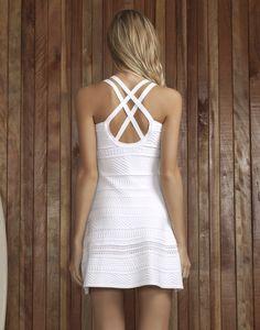 Vestido com Alças Evasê Tricô Branco - Lez a Lez
