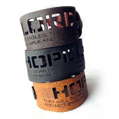 Isaiah 40:31 Leather Wristband  Hope in the Lord by TCMBDesign with Isaiah 40:31 - But those who hope in the Lord will renew their strength. They will soar on wings like eagles; they will run and not grow weary, they will walk and not be faint.
