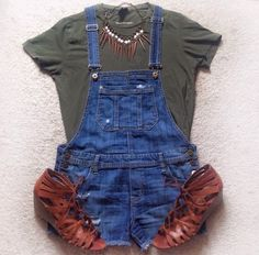Affordable Casual summer outfit... Overall's with basic tee and wedges