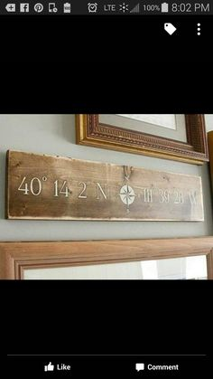 Landmark Sign Latitude\/Longitude Sign by thePaintedNestOR Diy Signs, Home Signs, Wall Signs, Nautical Office, Nautical Home, Vintage Nautical, Nautical Bridal Showers, Nautical Signs, Interior Design Advice