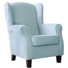Chandler Ohrensessel Blau Weiß Sitzmöbel Butlers