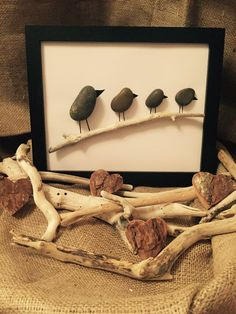 Handmade Pebble Art - 4 little birds                                                                                                                                                                                 More