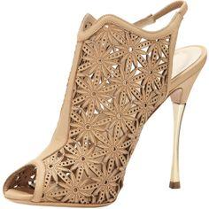 Nicholas Kirkwood Laser-Cut Leather Sandal, Beige