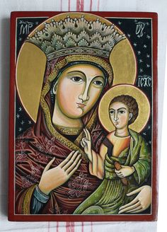 Title: Mother Of God with Child. Byzantine icon handmade painted. Romanian icon Orthodox icon Available the icon shown in the photos.