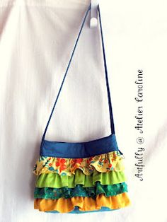 To Sew With Love: Girly Ruffled Sling Bag from a Fat Quarter and Scraps Tutorial