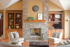 Classic stone fireplace with wooden accents