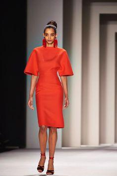 A model walks the runway at the Carolina Herrera fashion show during New York Fashion Week on Feb. 9, 2014.