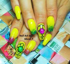 Yellow liquid stone nail art