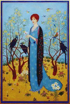 Edmund #Dulac #woman #print #birds #painting. #art #forest #illustration