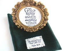 Verse Frame & Fabric Gift Bag.  God richly gives us by WordofGod, $9.50