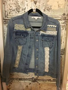 Upcycled denim jacket. I took various laces, some vintage and added to the denim jacket. The brand is Merona and size is M/M. Please look at the photos to see measurements, bust, sleeve, total length, shoulder. Machine wash delicate/ low dryer You can return an item as long as it is in