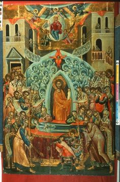 The Dormition of Our Most Holy Queen, the Theotokos and Ever-Virgin Mary. Byzantine Icons, Byzantine Art, Religious Icons, Religious Art, Paint Icon, Russian Icons, Religious Paintings, Best Icons, Catholic Art