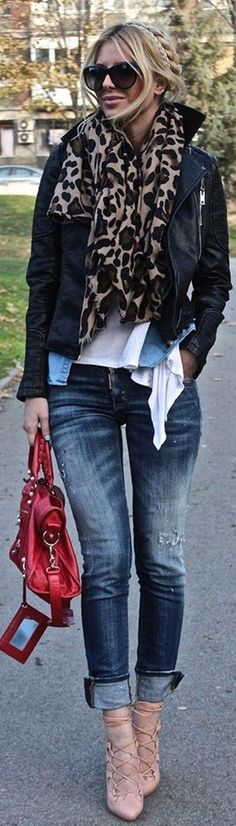 Red bag, beige pointy toe pumps, skinny jeans, white t-shirt, jean button up, black leather jacket