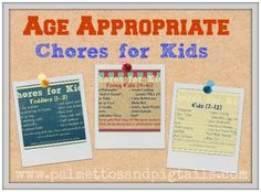 Age Appropriate Chores for Kids from Palmettos and Pigtails