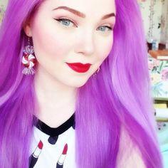Doe Deere of Lime Crime Violet Hair, Lilac Hair, Hair Color Purple, Pastel Hair, Hair Colours, Colors, Mint Hair, Neon Hair, Yellow Hair