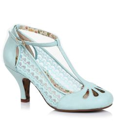 Sky Blue Cutout Posey Lace  Leatherette Retro T-Strap Heels $82.00 AT vintagedancer.com