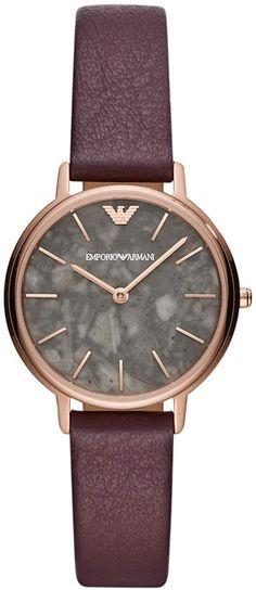 Emporio Armani Women Purple Leather Strap Watch 32mm 321f83b25