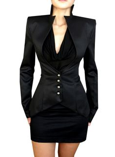 I imagine Regina from would wear this! Professional Business Suits for Women - Black Slim Business Suits for Women. Haute Couture Style, Look Fashion, High Fashion, Womens Fashion, Asian Fashion, Mode Style, Style Me, Jackett, Business Attire