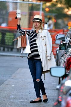 Nicky Hilton wearing Repetto BB Flats in Black, Frame Le Skinny De Jeanne in Runyon Canyon and Hermes Kelly Bag