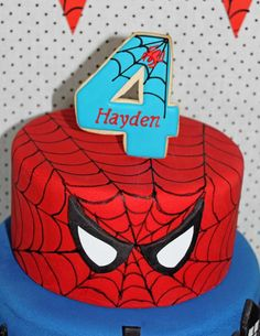 Spiderman Birthday Party Ideas Photo 12 of 34 Catch My Party Leo Birthday, Fourth Birthday, 4th Birthday Parties, Spiderman Birthday Cake, Spiderman Theme, Fête Spider Man, Bolo Mickey, Superhero Party, Party Ideas