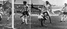 Sheffield Utd 1 Man City 2 in Oct 1973 at Bramall Lane. For all his acrobatics Denis Law fails to make contact with the ball #Div1