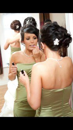 Bridesmaids hair with a small back clip. Bridesmaid Hair, Bridesmaids, Wedding Hairstyles, Medium Wedding Hairstyles, Wedding Hair Half, Wedding Hair, Wedding Hair Down, Wedding Hair Styles, Bridesmaid Hairstyles