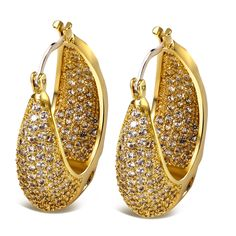 Cubic Zirconia Earrings Hook Style Front Pave Setting Stones Pendant CZ Crystals Luxury Banquet Deluxe Top Hand Made Real 18K Gold Plated - SE07076G