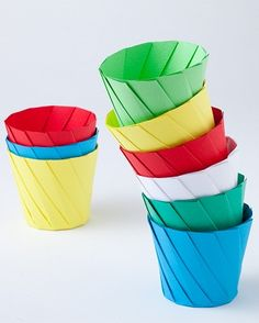 Origami Cups that fold open into a plate.