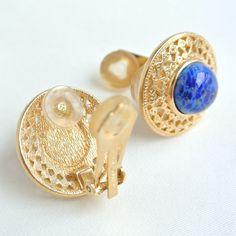 ©miri_mari RARE Vintage Christian Dior CD Faux Lapis Lazuli Earrings ~ SOLD OUT