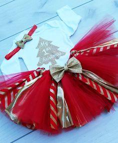 Traje de Navidad Tutu rojo y oro bebé niña por Janslittlehearts