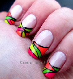 Abstract neon French by FingerFood  www.facebook.com/fingerfoodnail www.fingerfoodnails.com