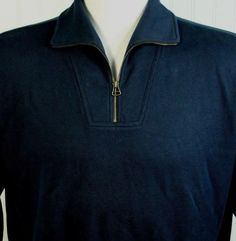 Faconnable Mens XL 1/4 Zip Golf Pull Over Navy Cotton Sweater French Design $155 #Faconnable #12Zip