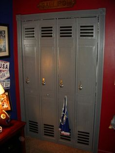 Closet door painted like lockers