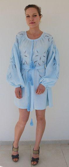 Fanm Mon Blue Linen Cut Out Baby Blue Vyshyvanka MINI Dress size XS-XXL MN0104