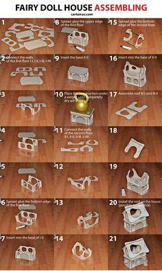 Wooden fairy doll house. Vector plan for laser cutter, cnc, lasercut, laser machine.  Assembling instruction of dollhouse