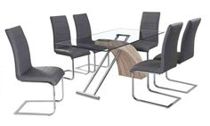 Glass dining table and 6 chairs in Grey set