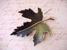 Pretty Vintage Enameled Maple Leaf Brooch in Pretty Shades of Green on Etsy, $10.00