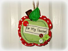Apple for the Teacher... Fabric padded apple personalised end of term gift. Available from http://www.facebook.com/bibbitybobbins