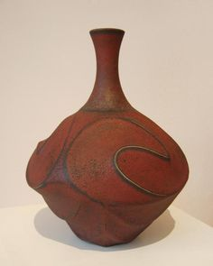 Jim connell - Red Sandblasted Carved Bottle