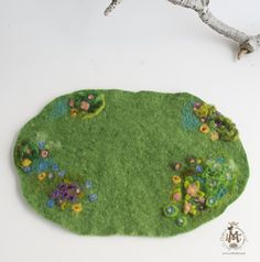 Little Spring Flower playmat, home dyed wool and roving, needle felted
