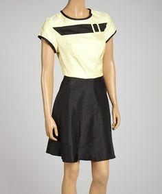 Look at this #zulilyfind! Yellow Belt-Accent Cap-Sleeve A-Line Dress - Women & Plus by Zoda #zulilyfinds